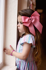 Load image into Gallery viewer, Oversized Bow Clip - Powder Pink Grosgrain