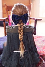 Load image into Gallery viewer, Beauty & The Beast Bowtie/Hair Clip - Blue Velvet Stripe - PROJECT 6, modest fashion