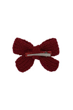 Load image into Gallery viewer, Knitted Sweet Bow Clip - Beauty Wine