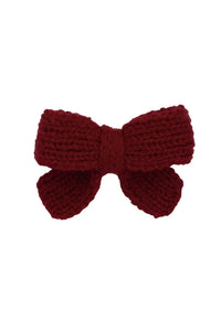Knitted Sweet Bow Clip - Beauty Wine