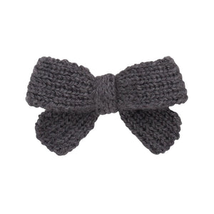 Knitted Sweet Bow Clip - Charcoal