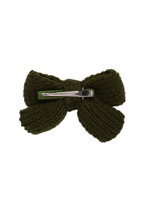 Knitted Sweet Bow Clip - Deep Sage