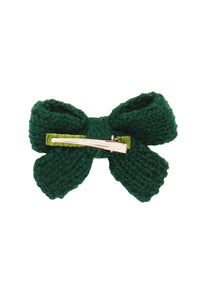 Knitted Sweet Bow Clip - Hunter Green