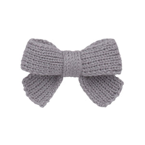 Knitted Sweet Bow Clip - Light Grey