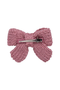 Knitted Sweet Bow Clip - Quartz Rose