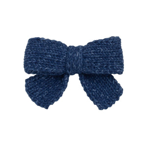 Knitted Sweet Bow Clip - Smoke Blue