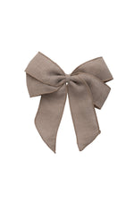 Load image into Gallery viewer, Oversized Bow Clip - Khaki Tan Brown