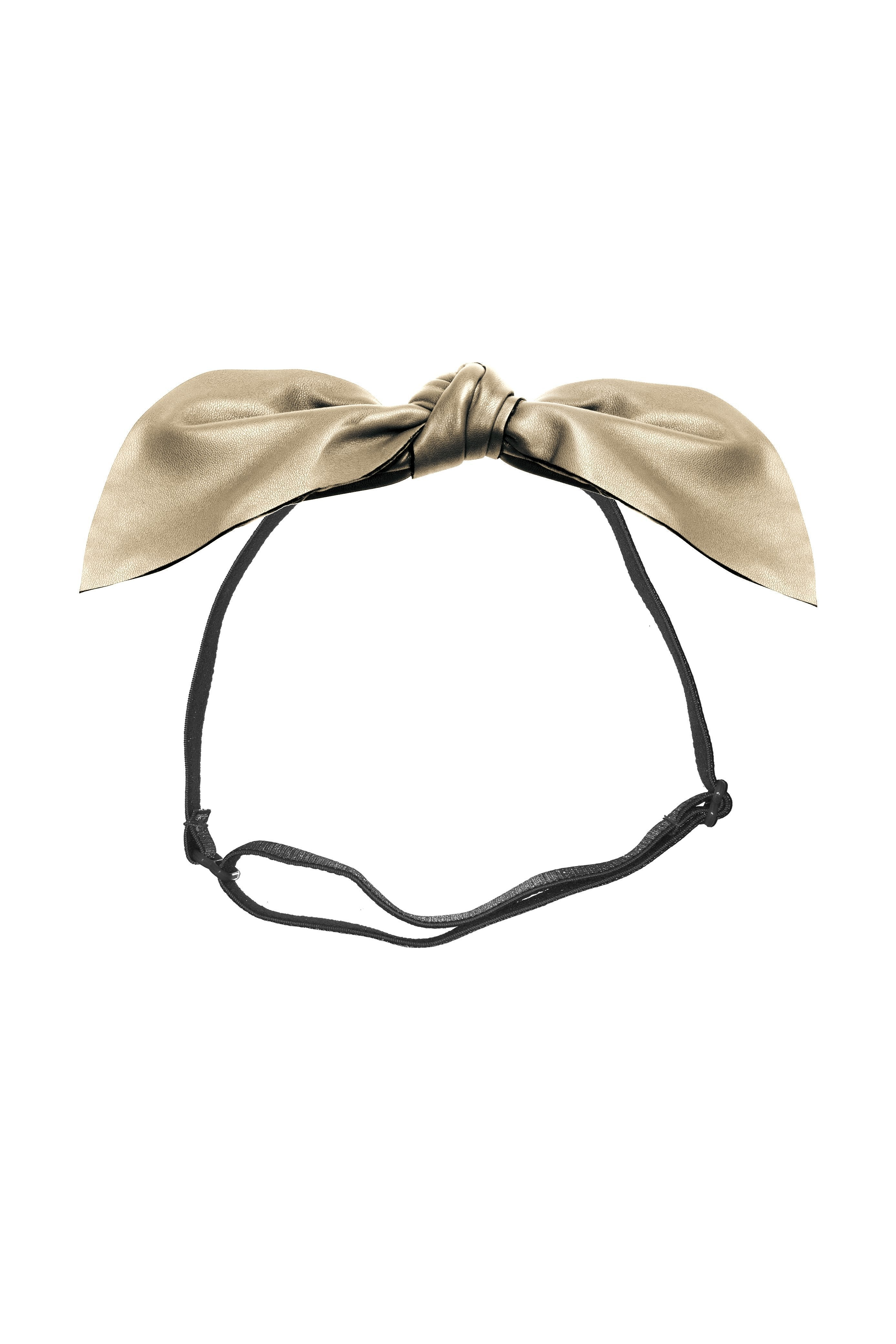 Perfect Leather Pointy Bow Wrap - Gold - PROJECT 6, modest fashion