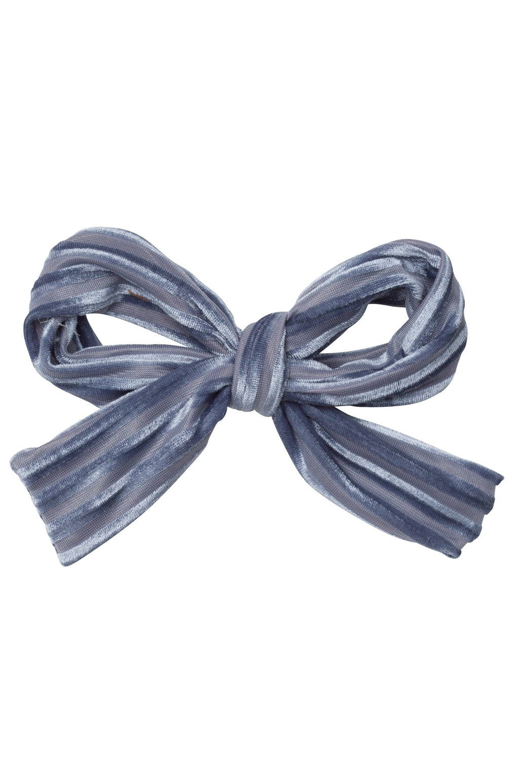 Party Bow Clip - Blue Velvet Stripe - PROJECT 6, modest fashion