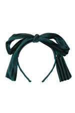 Load image into Gallery viewer, Party Bow Headband - Hunter Green Velvet Stripe - PROJECT 6, modest fashion
