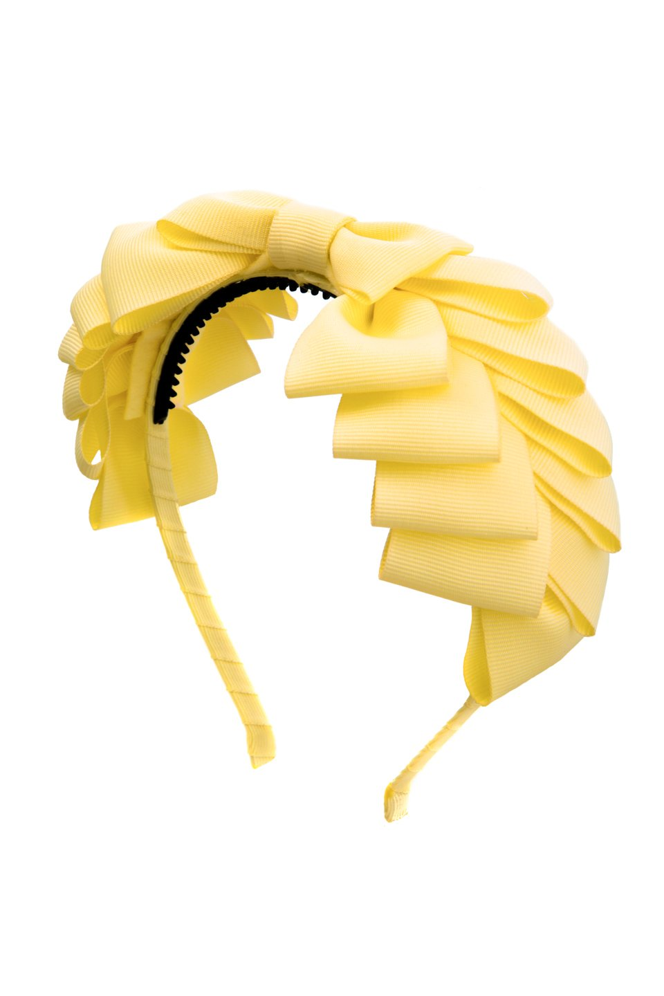 Pleated Ribbon Grosgrain Headband - Lemon - PROJECT 6, modest fashion