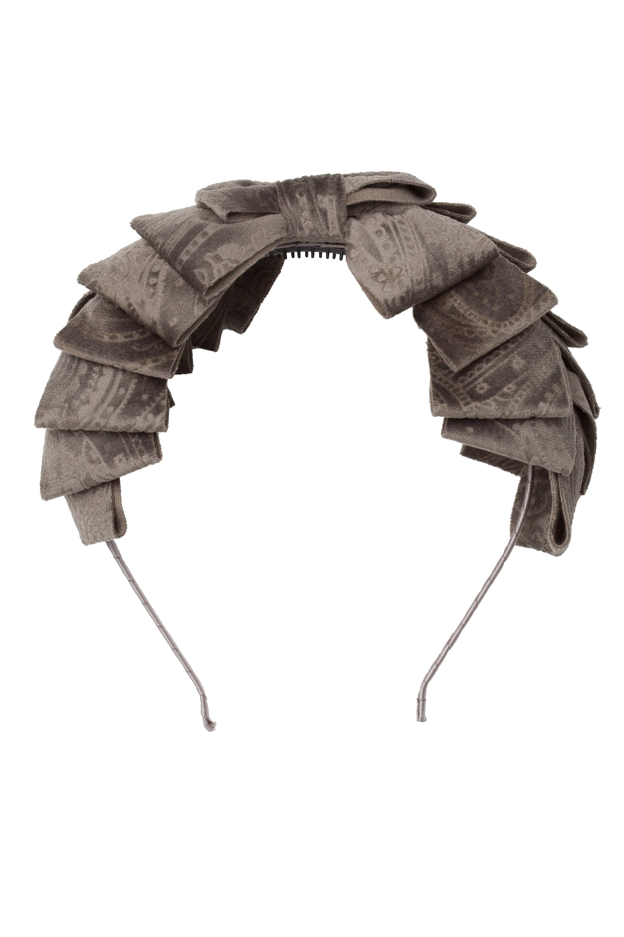 Pleated Ribbon Headband - Smoke Grey Paisley Suede - PROJECT 6, modest fashion