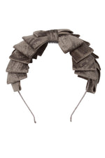 Load image into Gallery viewer, Pleated Ribbon Headband - Smoke Grey Paisley Suede - PROJECT 6, modest fashion