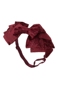 Pleated Ribbon Wrap - Burgundy Paisley Suede - PROJECT 6, modest fashion