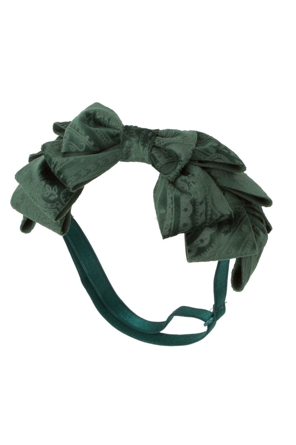 Pleated Ribbon Wrap - Hunter Green Paisley Suede - PROJECT 6, modest fashion