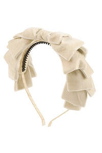 Pleated Ribbon Velvet Headband - Cream - PROJECT 6, modest fashion
