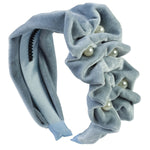 Load image into Gallery viewer, Ruffled Pearl Velvet Headband - Antique Blue - PROJECT 6, modest fashion