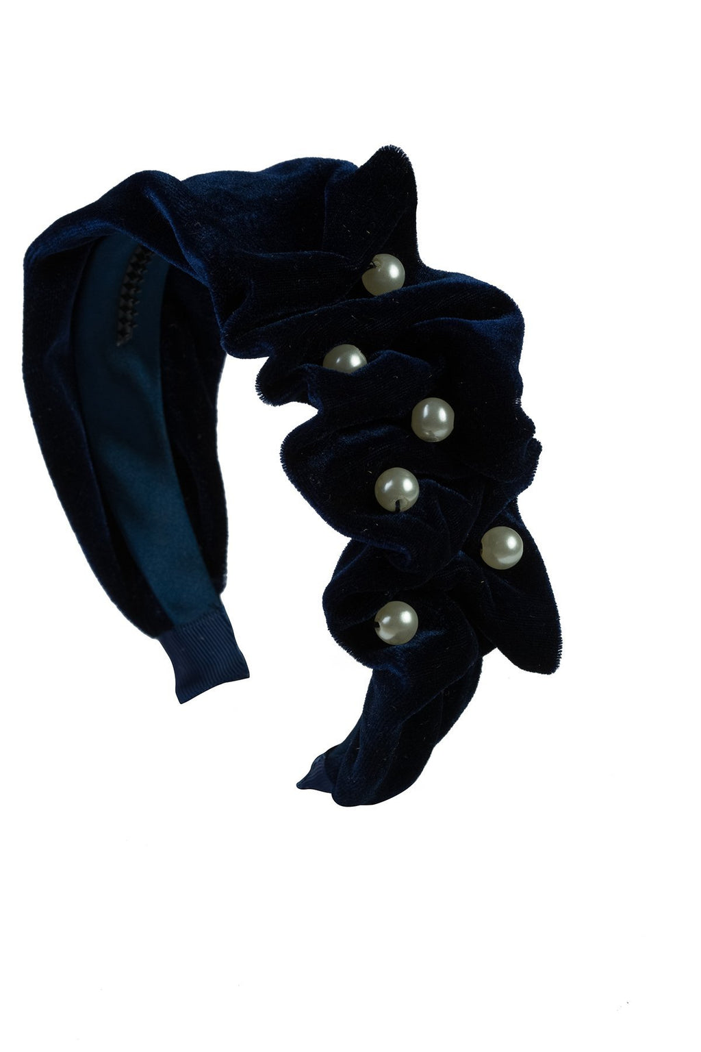 Ruffled Pearl Velvet Headband - Navy - PROJECT 6, modest fashion