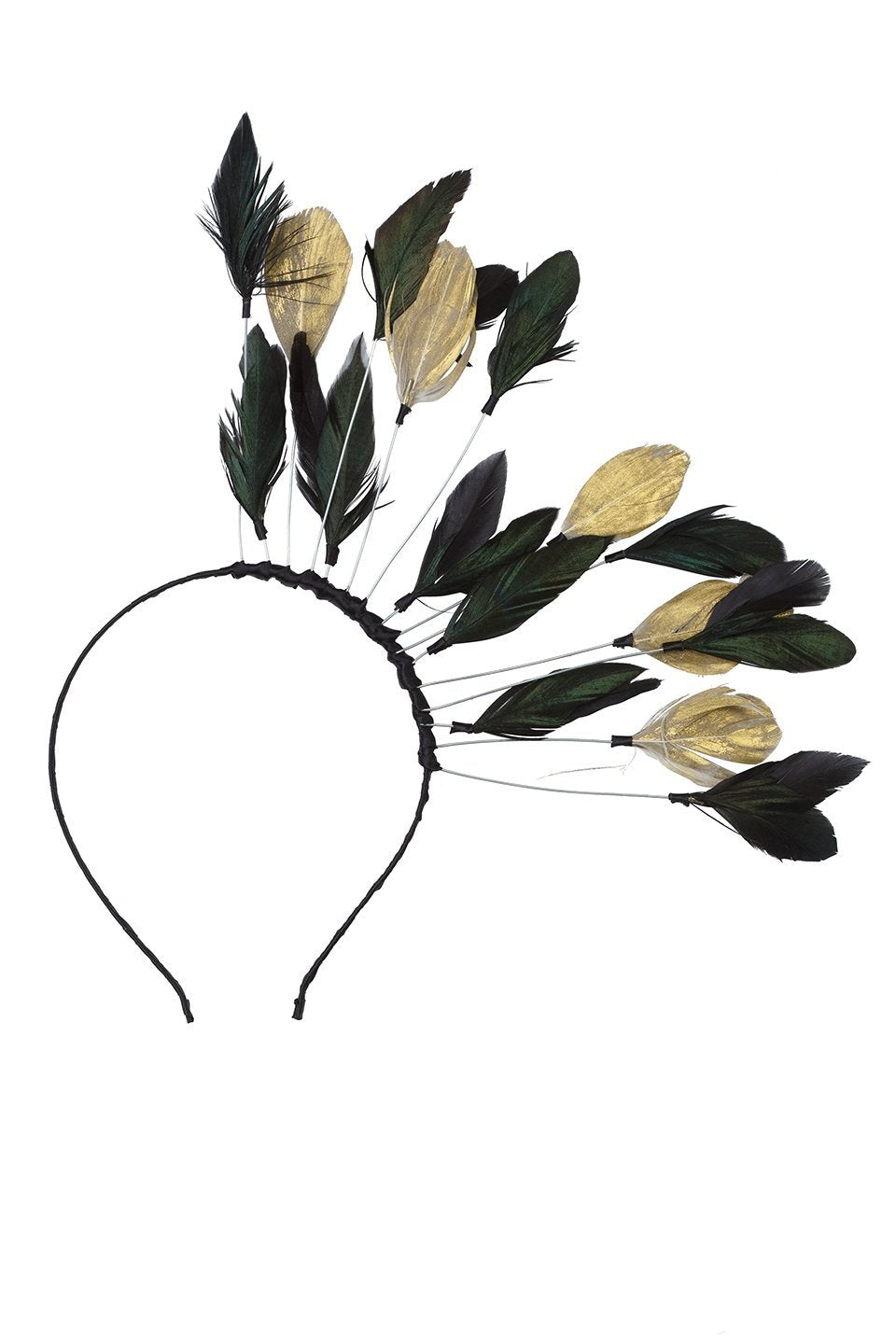 Floating Feathers Headband - Black/Gold - PROJECT 6, modest fashion