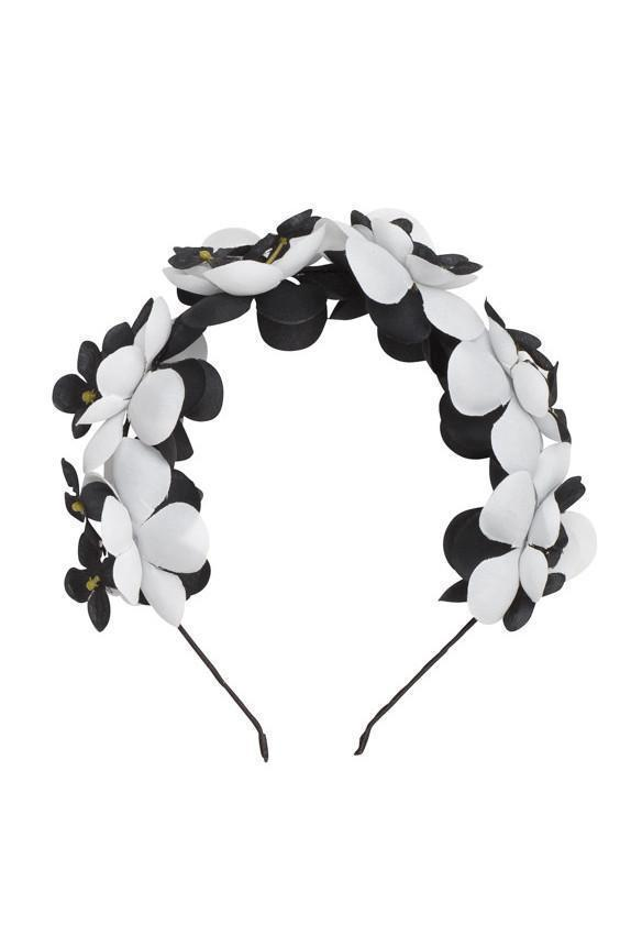 Floral Crown - White/Black - PROJECT 6, modest fashion
