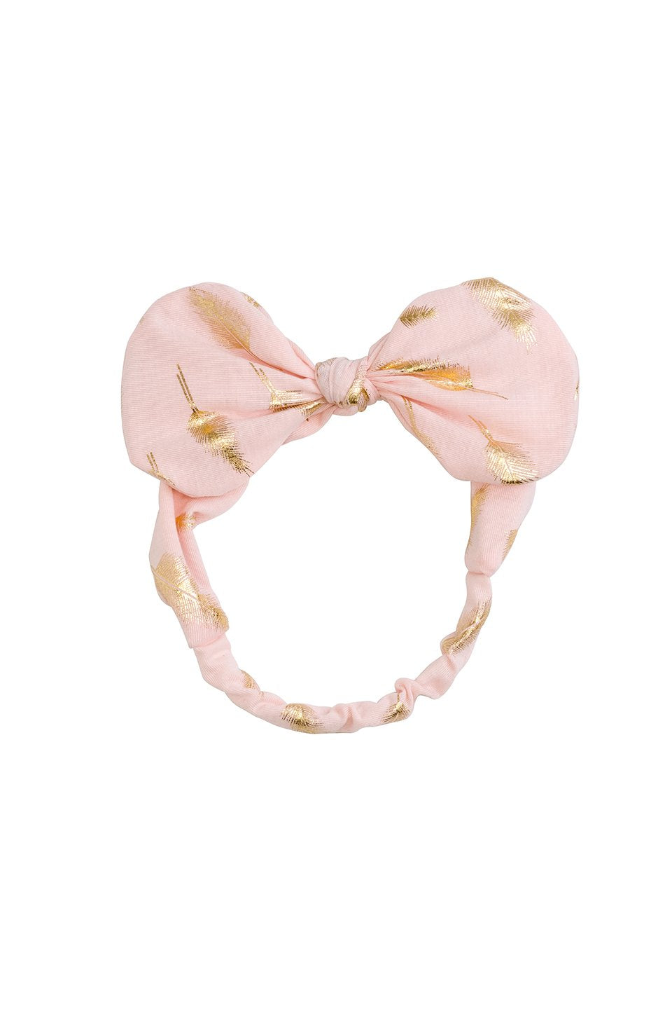Bunnie Bow Wrap - Blush/Gold Feather Print - PROJECT 6, modest fashion