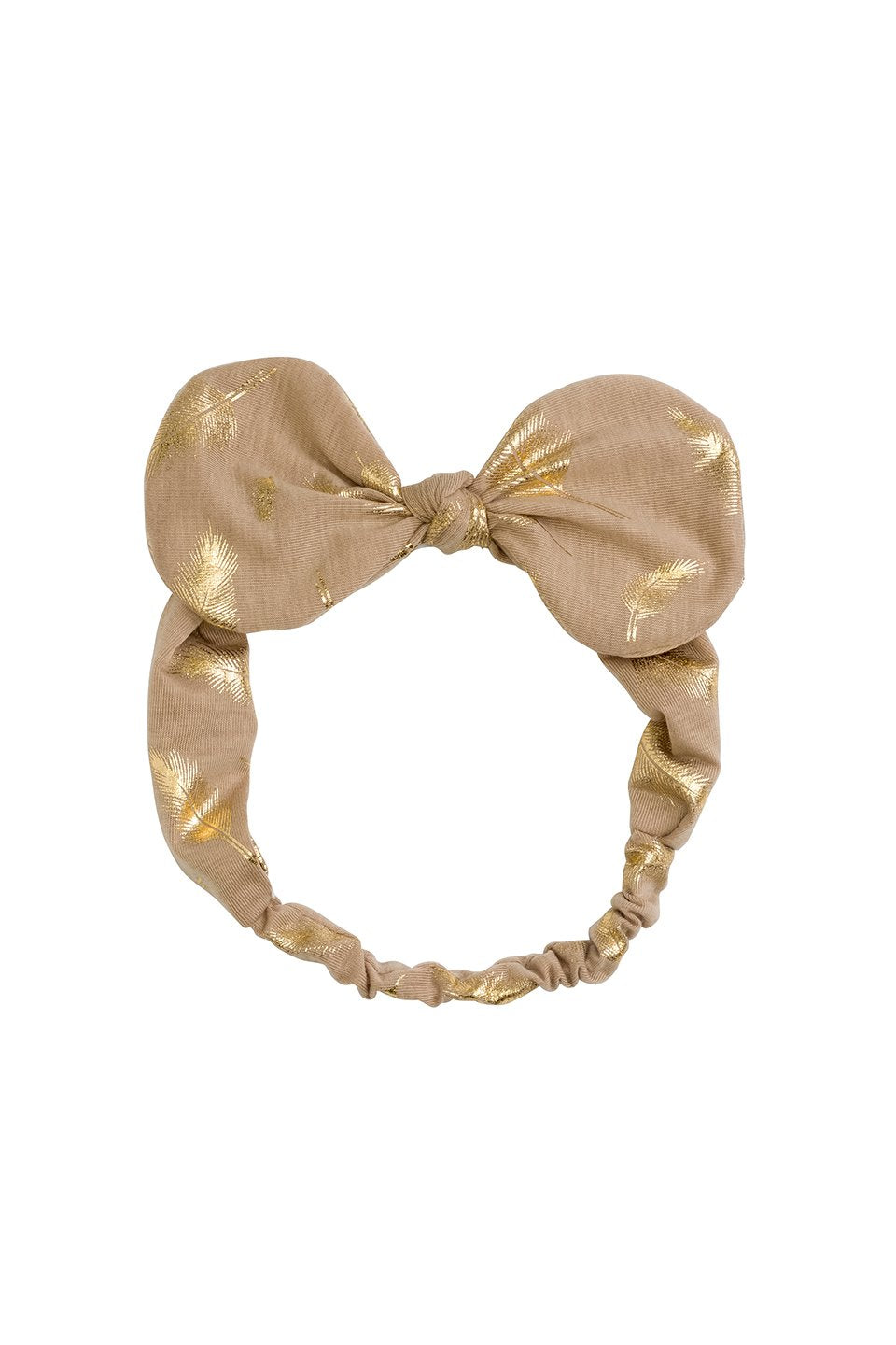 Bunnie Bow Wrap - Tan/Gold Feather Print - PROJECT 6, modest fashion