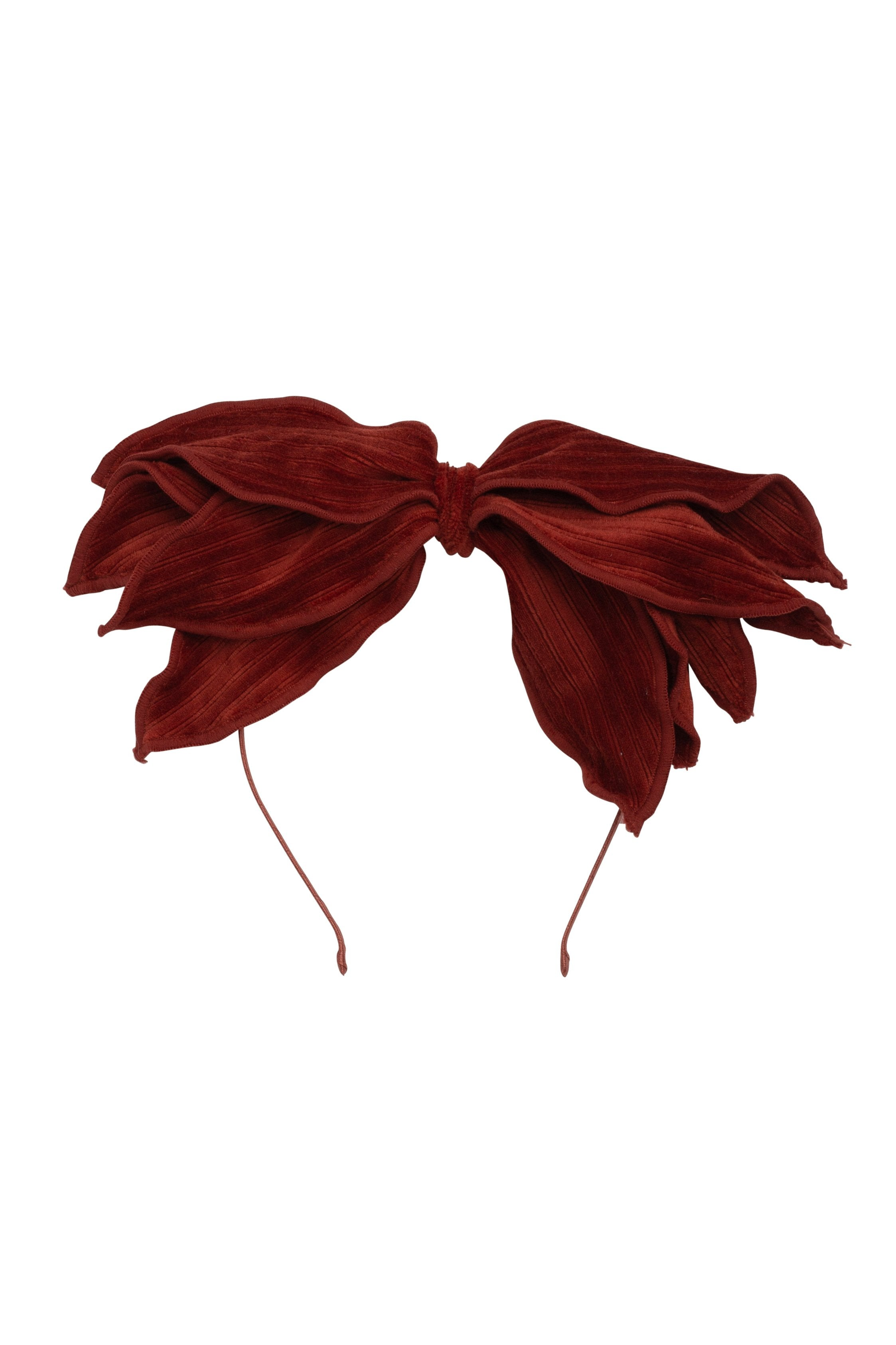 Winter Petals Headband - Rust Lines Velvet