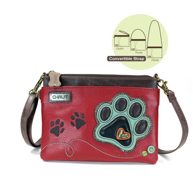 Mini Crossbody Pawprint Burgandy