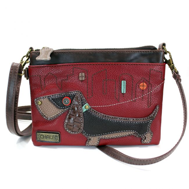Mini Crossbody Wiener Dog Burgundy