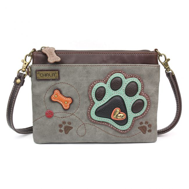 Mini Crossbody Paw Print-grey