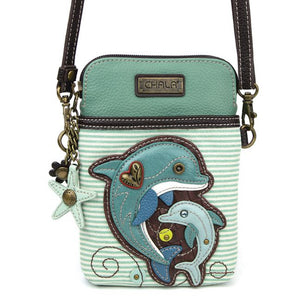 Cellphone Crossbody dolphin Teal Stripe