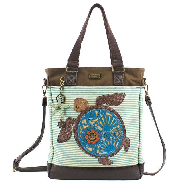 Work Tote - Turtle Teal Stripe