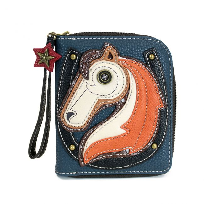 Zip Around Wallet Horse, Navy