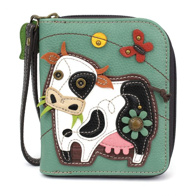 Zip Around Wallet Cow Teal