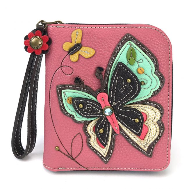 Zip Around Wallet Butterfly/Pink