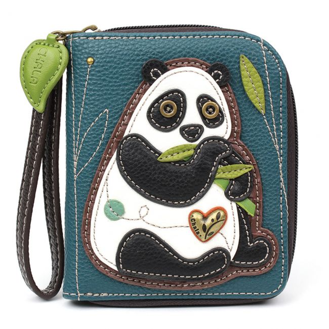 Zip Around Wallet-Panda-Turquoise