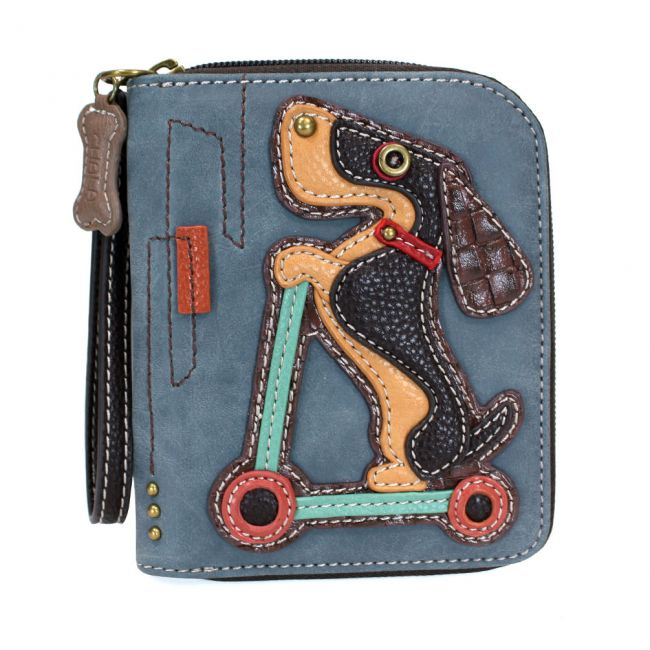 Zip Around Wallet Dog Scooter Indigo