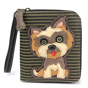 Zip Around Wallet Yorkie Olive Stripe