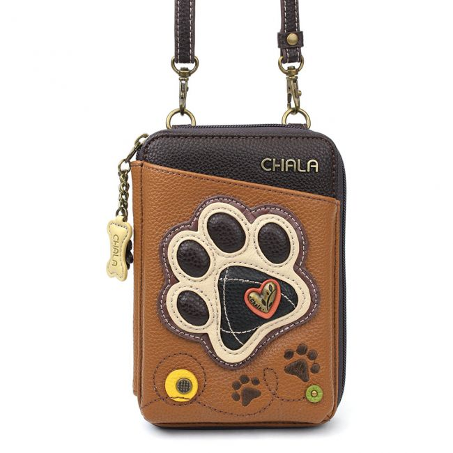Wallet Crossbody Paw Print Brown