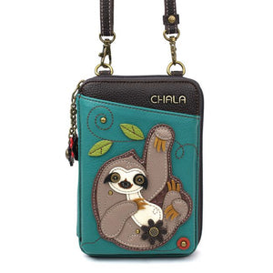 Wallet Crossbody Sloth Turq