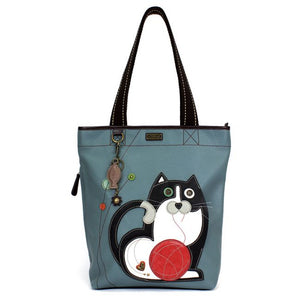 Everyday Zip Tote Blue Gray Cat w/Ball