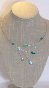 Mint Green, Jade, Aqua Kristina Collection Necklace, Silver Wire