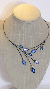 Irridescent Blue Kristina Collection Necklace, Black Wire