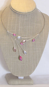 Pink, Fuschia & White Kristina Collection Necklace, Silver Wire