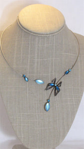 Aqua Butterfly Necklace on Pewter Wire