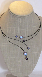 Irridescent & Purple Kristina Collection Necklace Black Wire