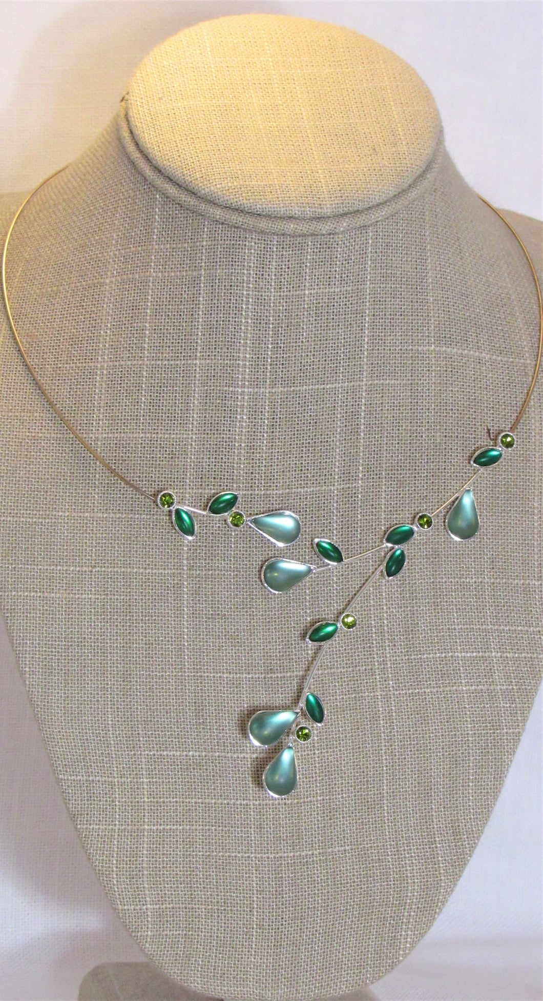 Sage, Green, Jade Kristina Collection Necklace, Silver Wire