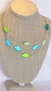Green & Turquoise Leaves Necklace