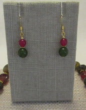 Load image into Gallery viewer, Ruby &Green Gold Drop earring