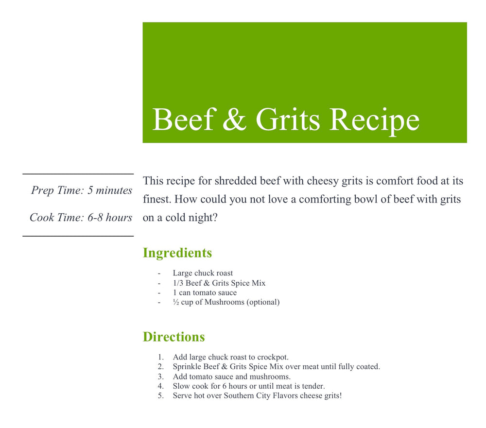 Beef and Grits Spice Mix